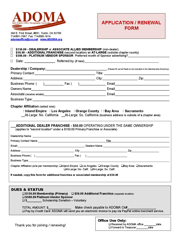 Adoma membership application form membership application form falaconquin